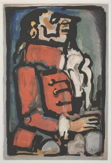 """Footman,"" a color etching and aquatint, is from Rouault's ""Fleurs du Mal"" series of prints in the exhibit."